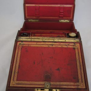 19thc Leather Writing Box made by Carlisle and Watts.