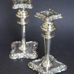 19thc Silver Candlesticks
